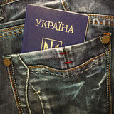 Ukrainian passport in jeans pocket Stock Images