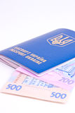Ukrainian passport with national money Royalty Free Stock Image