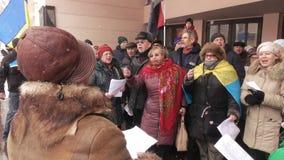 Ukrainian patriotic flash mob meeting song stock footage