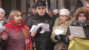 Ukrainian patriotic flash mob meeting song stock video
