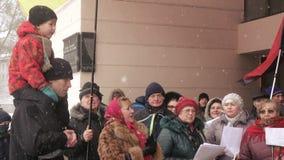 Ukrainian patriotic flash mob meeting song stock video footage