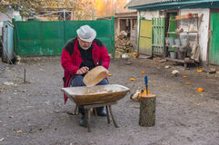 Ukrainian peasant doing daily work Royalty Free Stock Images