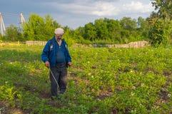 Ukrainian peasant processing potato plantation with insecticide liquid Royalty Free Stock Photos