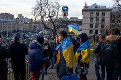 Ukrainian people demand the resignation of the government and early voting Stock Photos