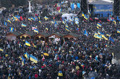Ukrainian people demand the resignation of the government and early voting. KYIV, UKRAINE - DECEMBER 3: Ukrainian people demand the resignation of the government Royalty Free Stock Photography