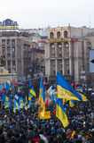 Ukrainian people demand the resignation of the government and early voting Stock Image