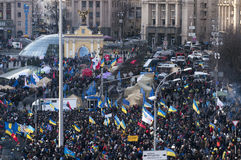 Ukrainian people demand the resignation of the government and early voting Stock Photo