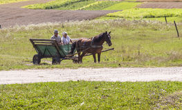 Ukrainian people in the old wooden cart. Royalty Free Stock Images