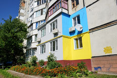 The Ukrainian people painted their houses in colors of the Ukrainian Flag Stock Image