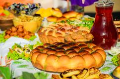 Ukrainian pies on the table stock images