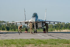 Ukrainian pilots completed air military exercises Stock Photos