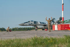 Ukrainian pilots completed air military exercises Stock Photography