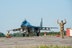 Ukrainian pilots completed air military exercises Stock Image