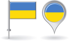 Ukrainian pin icon and map pointer flag. Vector Stock Image