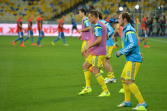Ukrainian players on one row Royalty Free Stock Images