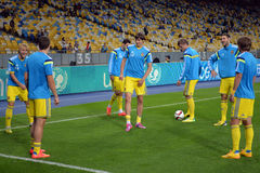 Ukrainian players are playing near the corner Royalty Free Stock Photos