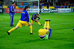Ukrainian players warming up Royalty Free Stock Photos