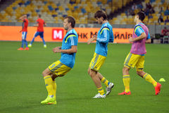 Ukrainian players warms-up Royalty Free Stock Photo