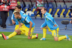 Ukrainian players warms-up Stock Photo