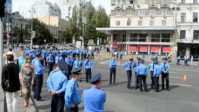 Ukrainian police, military parade, Independence Day, Ukraine,. KIEV - AUG 24: Ukrainian police during military parade devoted to the annual Independence Day of stock video