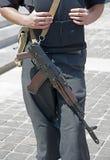 Ukrainian police officer with Kalashnikov automatic rifle. Stock Photography