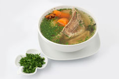 Ukrainian pork soup with parsley Royalty Free Stock Images