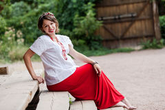 Ukrainian pregnant woman in traditional embroidered shirt Royalty Free Stock Photos