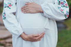Ukrainian pregnant woman wear traditional embroidered shirt. Location in traditional ukrainian village. Stock Photos