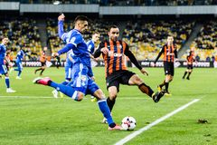 Ukrainian Premier League match Dynamo Kyiv - Shakhtar Donetsk, O. Kyiv, Ukraine - October 22, 2017: Yevhen Khacheridi in action against Ismaili. Ukrainian stock image