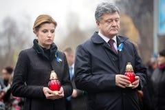 Ukrainian President has honored the memory of celestial hundreds Stock Images