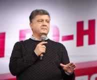 Ukrainian presidential candidate Petro Poroshenko speaks at elec Stock Photography