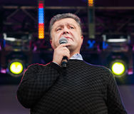 Ukrainian presidential candidate Petro Poroshenko speaks at elec Stock Photo