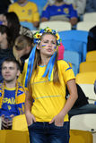 Ukrainian pretty young fan girl Stock Image
