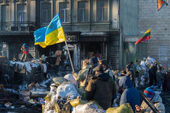 Ukrainian protesters on the barricades Royalty Free Stock Photography