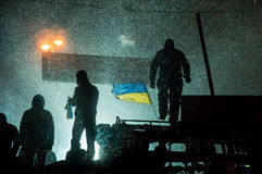 Ukrainian protesters on the barricades Stock Photo
