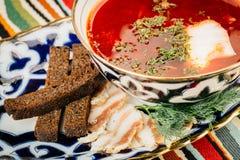 Ukrainian red borsch with sour cream Royalty Free Stock Photos