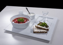 Ukrainian red borscht with salo sandwiches on ceramic tray. Ukrainian national red borscht soup served with a sour cream, black bread sandwich with salo and royalty free stock photo