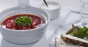 Ukrainian red borscht with salo sandwiches close-up Stock Photo