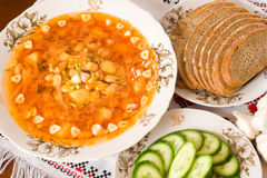 Ukrainian restaurant - borsch, black bread Royalty Free Stock Photography