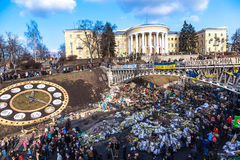 Ukrainian revolution, Euromaidan after an attack by government f Stock Photo