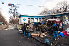 Ukrainian revolution, Euromaidan after an attack by government f Royalty Free Stock Photo