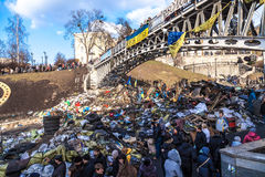 Ukrainian revolution, Euromaidan after an attack by government f Stock Images