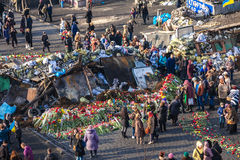 Ukrainian revolution, Euromaidan after an attack by government f Royalty Free Stock Photography