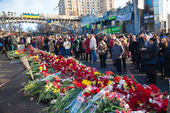 Ukrainian revolution, Euromaidan after an attack by government f Royalty Free Stock Image