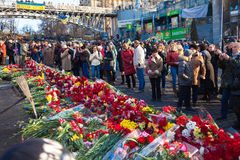Ukrainian revolution, Euromaidan after an attack by government f Royalty Free Stock Photos