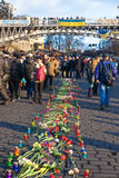 Ukrainian revolution, Euromaidan after an attack by government f Royalty Free Stock Images
