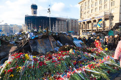 Ukrainian revolution, Euromaidan after an attack by government f Stock Photos