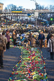 Ukrainian revolution, Euromaidan after an attack by government f Stock Photography