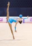 Ukrainian Rhythmic Gymnastics Championship 2014. Unknown gymnast performs ball during Ukrainian Rhythmic Gymnastics Championship 2014 royalty free stock photography