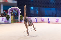 Ukrainian Rhythmic Gymnastics Championship 2014. Uzhgorod, Ukraine-August 2, 2014: Ganna Rizatdinova of Ukraine performs hoop during the individual ball royalty free stock photos